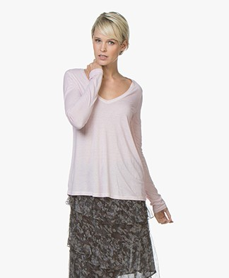 Majestic Filatures Garment Dyed Long Sleeve in Pure Silk - Pétale