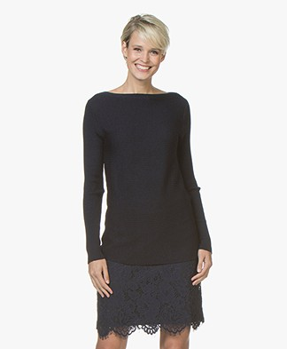 no man's land Boat Neck Sweater in Wool - Dark Sapphire