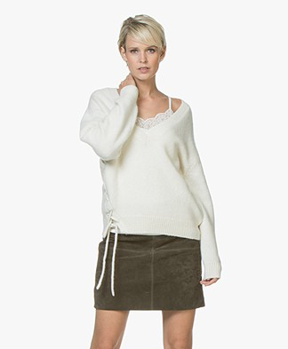 IRO Mylo Knitted V-neck Sweater - Mixed Ecru