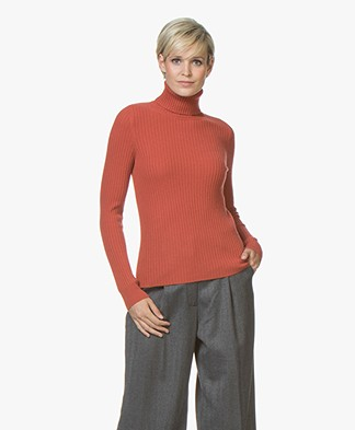 Repeat Pure Cashmere Rib Turtleneck Pullover - Rust
