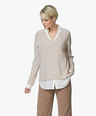 Repeat Pure Cashmere Sweater with Layered Look - Beige
