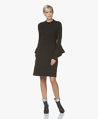 Repeat Cashmere Blend Knitted Dress with Flounce Sleeves - Black