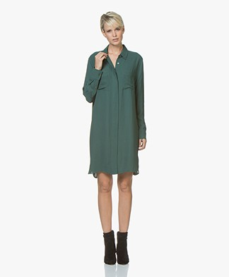 Repeat Shirt Dress in Viscose Crepe - Forest