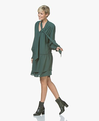 Repeat Viscose Crepe Dress with Frill Details - Forest