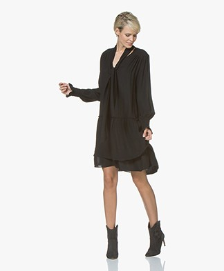 Repeat Viscose Crepe Dress with Frill Details - Black