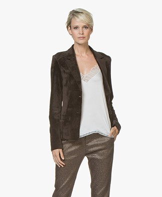 Woman By Earn Juul Fluwelen Blazer - Donkerbruin