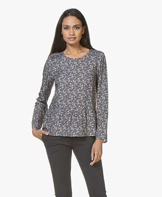 indi & cold Print Blouse with Peplum Hem - Indigo