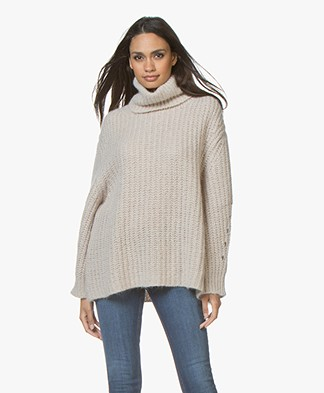 ba&sh Emera Oversized Turtleneck Sweater - Beige