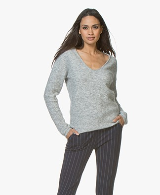 Marie Sixtine Kayla V-neck Sweater with Mohair - Cloud