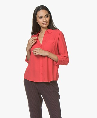 Marie Sixtine Florie Viscose Cropped Sleeve Blouse - Berry