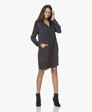 BRAEZ Dorei Viscose Satin Tunic Dress - Navy