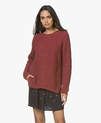 BY-BAR Davina Chunky Knitted Pullover - Vintage Red