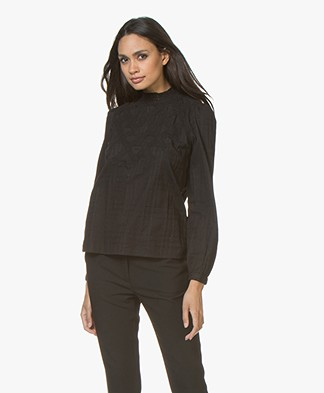 BY-BAR Gaby Cotton Blouse with Lace - Off-black