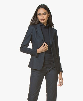 Drykorn Boulder Tailored Blazer in Wool Blend - Dark Blue
