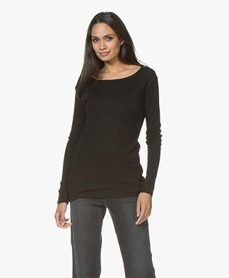 Filippa K Merino Wool Boat Neck T-shirt - Black