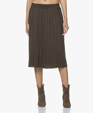 Marie Sixtine Skirt Gaby Fine Knit Pleated Skirt - Moss