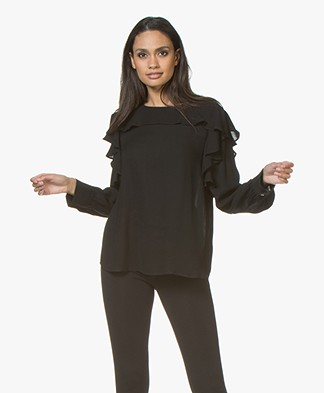Repeat Viscose Crepe Blouse with Flounces - Black