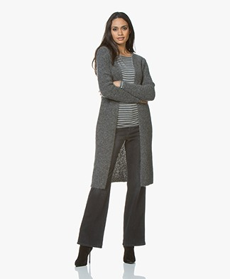 Woman By Earn Celine Long Open Cardigan in Mohair - Medium Grey