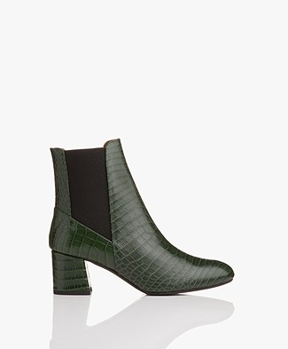 ATP Atelier Altea Leather Ankle Boots - Forrest Green Printed Croco