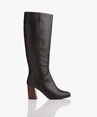 ATP Atelier Zinnia High Leather Boots - Black Vacchetta