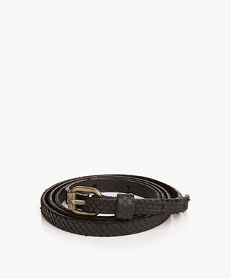 BY-BAR Snake Leather Belt - Zwart
