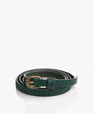 BY-BAR Snake Leather Belt - Peacock Green