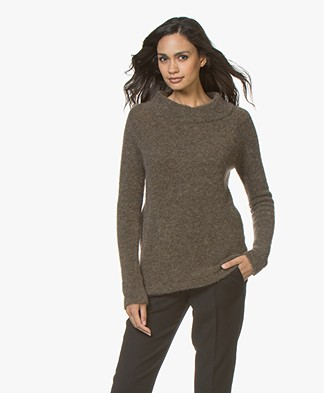 no man's land Mohair Round Neck Sweater - Armour