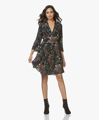 ba&sh Agathe A-line Dress with Print - Black