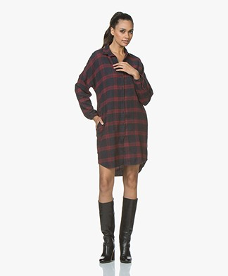 BY-BAR Check Jurk in Viscosemix Flanel - Wine