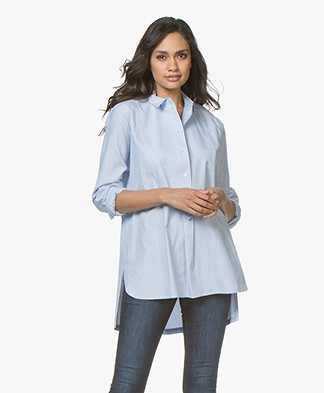 By Malene Birger Mayah Striped Poplin Blouse - Pastel Blue
