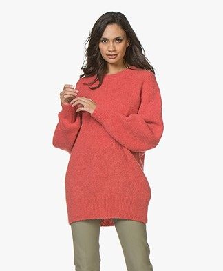 Closed R-neck Alpaca Blend Sweater - Red