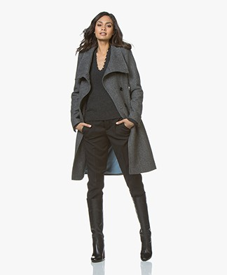 Drykorn Redditch Long Wool Coat - Dark Grey Melange