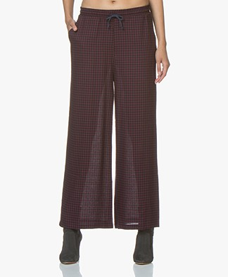 LEÏ 1984 Oscar Wide Leg Checkered Pants - Burgundy/Navy