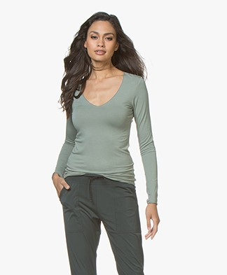 Majestic Agnes V-neck Jersey Long Sleeve T-shirt - New Army