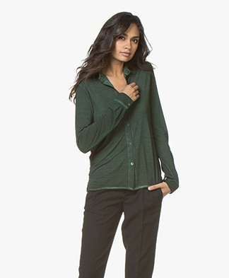 Majestic Filatures Garment Dyed Zijde Jersey Blouse - Kaki