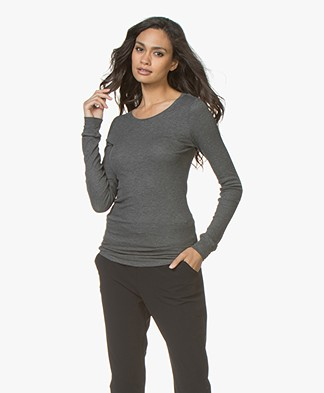 Majestic Rib Jersey Round Neck Long Sleeve - Flanelle