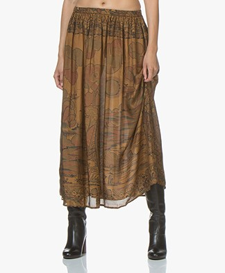 Mes Demoiselles Cyclamen Silk Skirt - Khaki