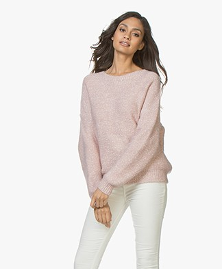 Repeat Cotton Blend Mouline Boat Neck Sweater - Pink