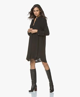 Repeat Long Shirt Dress in Viscose Crepe - Black