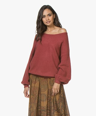 Repeat Mohair Blend Oversized Boatneck Sweater - Rust