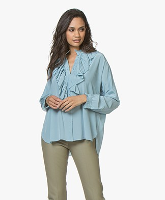 Zadig & Voltaire Tamacco Silk Blouse with Ruffles - Orag Thunder