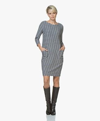 Kyra & Ko Odette Wavy Jacquard Jersey Dress - Cobalt