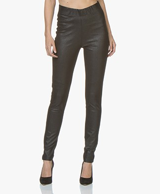Kyra & Ko Naobi Faux Craquele Leather Leggings - Black