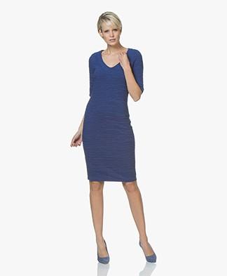 Kyra & Ko Vivian Ottoman Rib Jersey V-neck Dress - Cobalt
