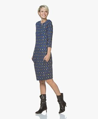 Kyra & Ko Evelyn Jersey Print Dress - Cobalt