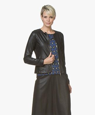 Kyra & Ko Kyla Blazer Jacket in Faux Craquele Leather - Black