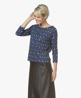 Kyra & Ko Imani Print T-shirt with Cropped Sleeves - Cobalt