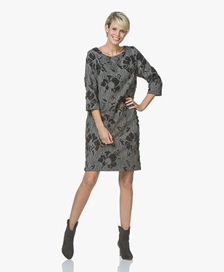 Kyra & Ko Lois Brocade Jacquard Dress - Grey