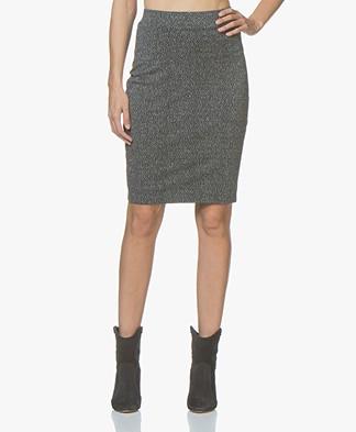 Kyra & Ko Olga Lurex Jersey Pencil Skirt - Grey
