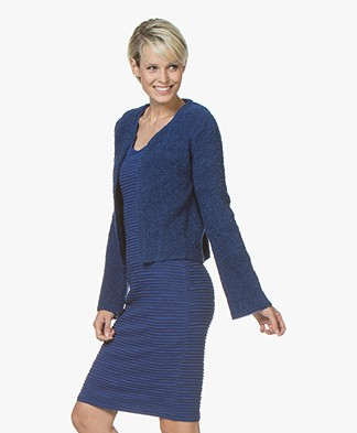 Kyra & Ko Grace Short Boucle Cardigan - Cobalt